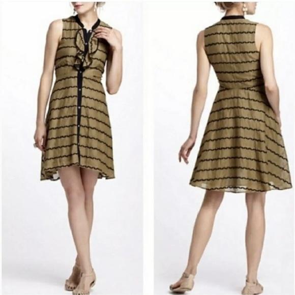 Anthropologie Dresses & Skirts - ANTHROPOLOGIE POSTMARK BUBBLE RUFFLE GREEN DRESS